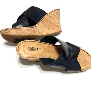 Born Wedge Sandals Navy Size 8